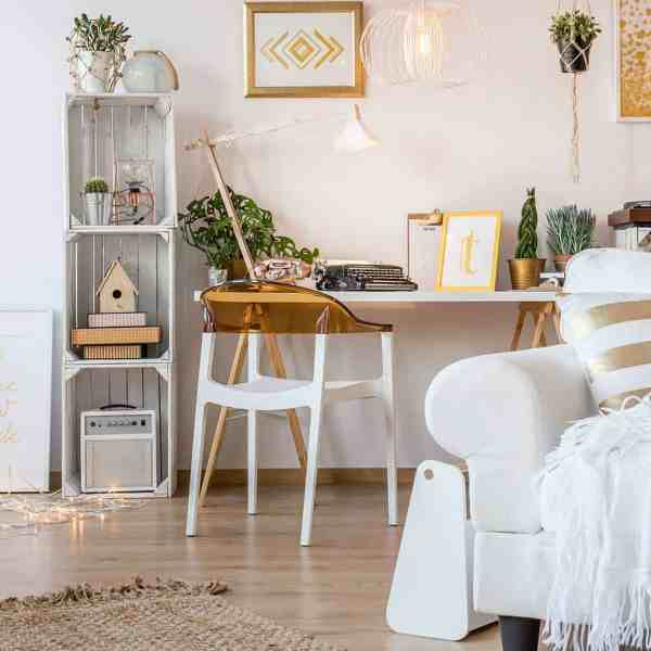 scandi room, white, boho