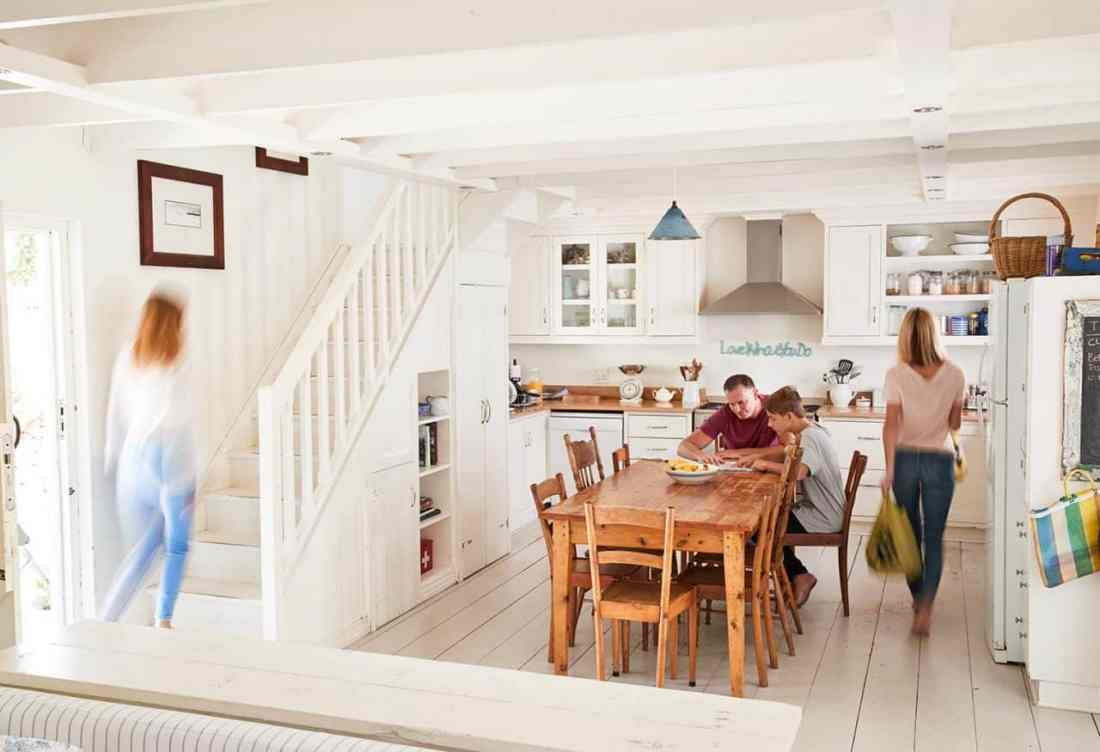 family in kitchen with blurred images