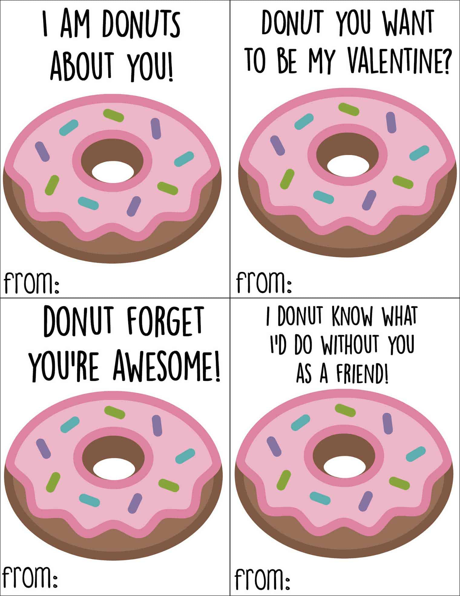 photograph regarding Donut Printable named Absolutely free Printable Donut Valentines Working day Playing cards