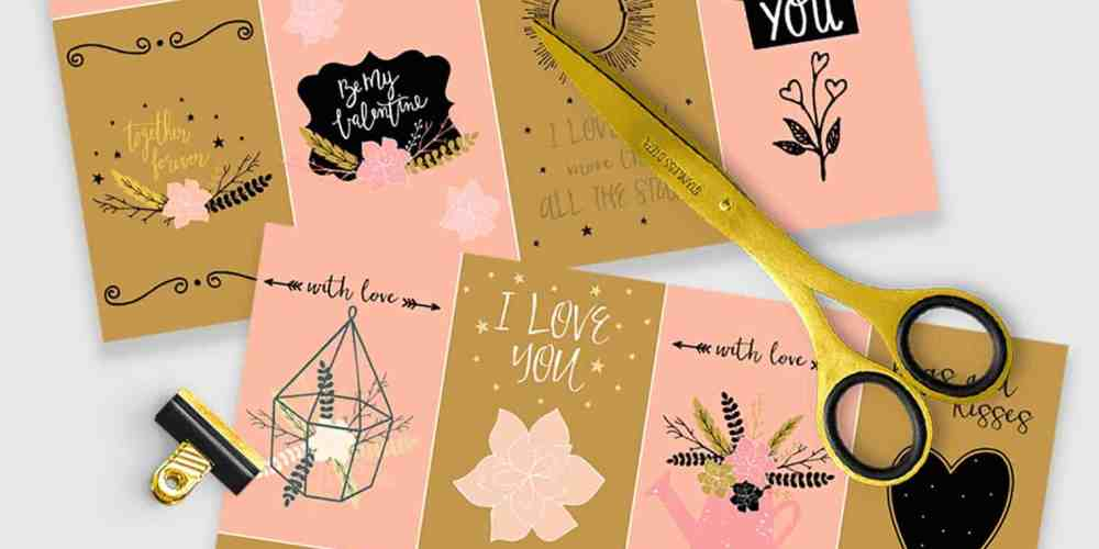 Free printable farmhouse Valentine's Day cards, scissors on desk