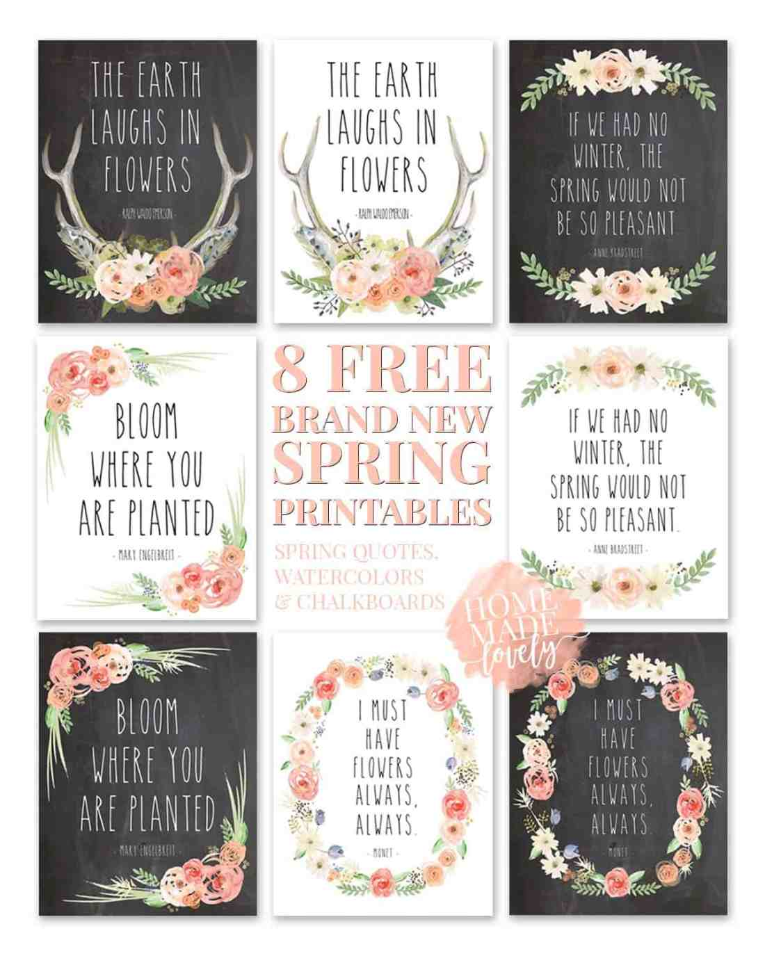 Please accept these 8 brand new free spring printables as our way of saying thank you for coming to Home Made Lovely again and again. We appreciate you, more than you know!