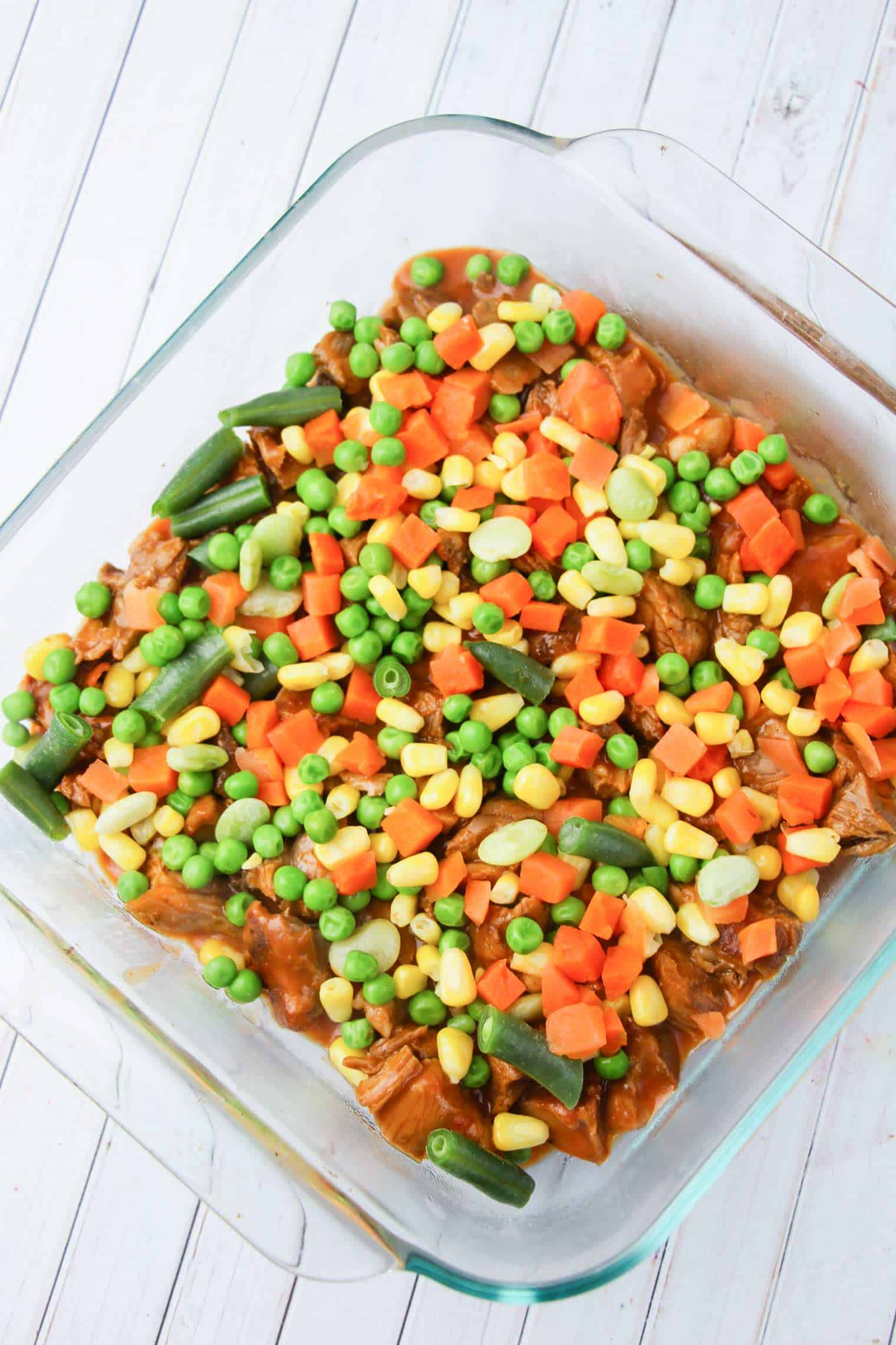 veggies added as second layer of shepherd's pie