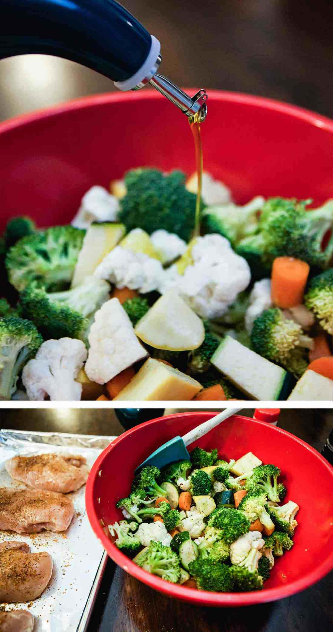 adding oil and seasoning to veggies in red bowl