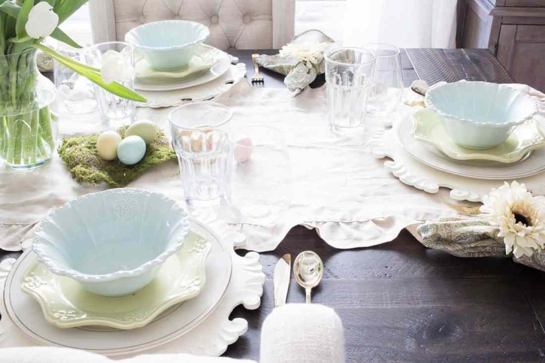 watery colored spring table setting