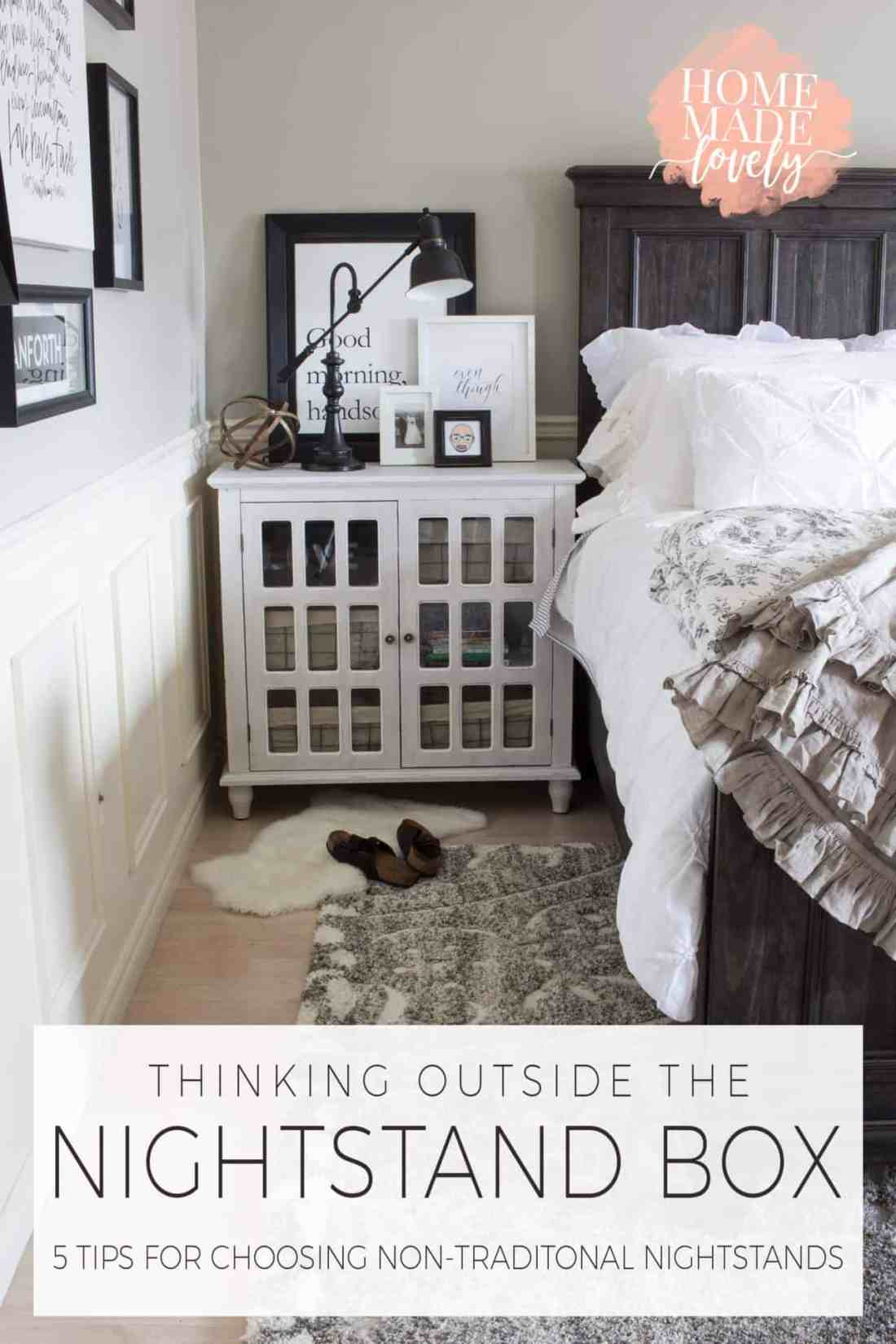 When we made over our farmhouse master bedroom recently, we thought outside the nightstand box and chose two Bray Accent Cabinets from The Brick. Here are 5 tips for choosing non-traditional nightstands.