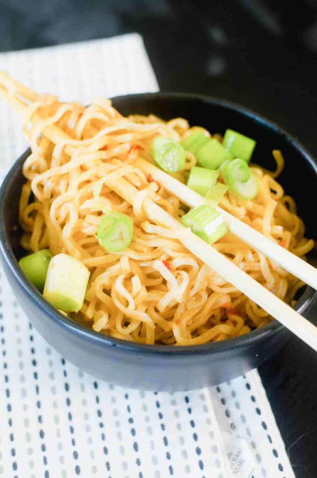 Easy Asian-inspired Chili Garlic Noodles made in about 10-15 minutes! Makes a delicious side dish or light lunch.