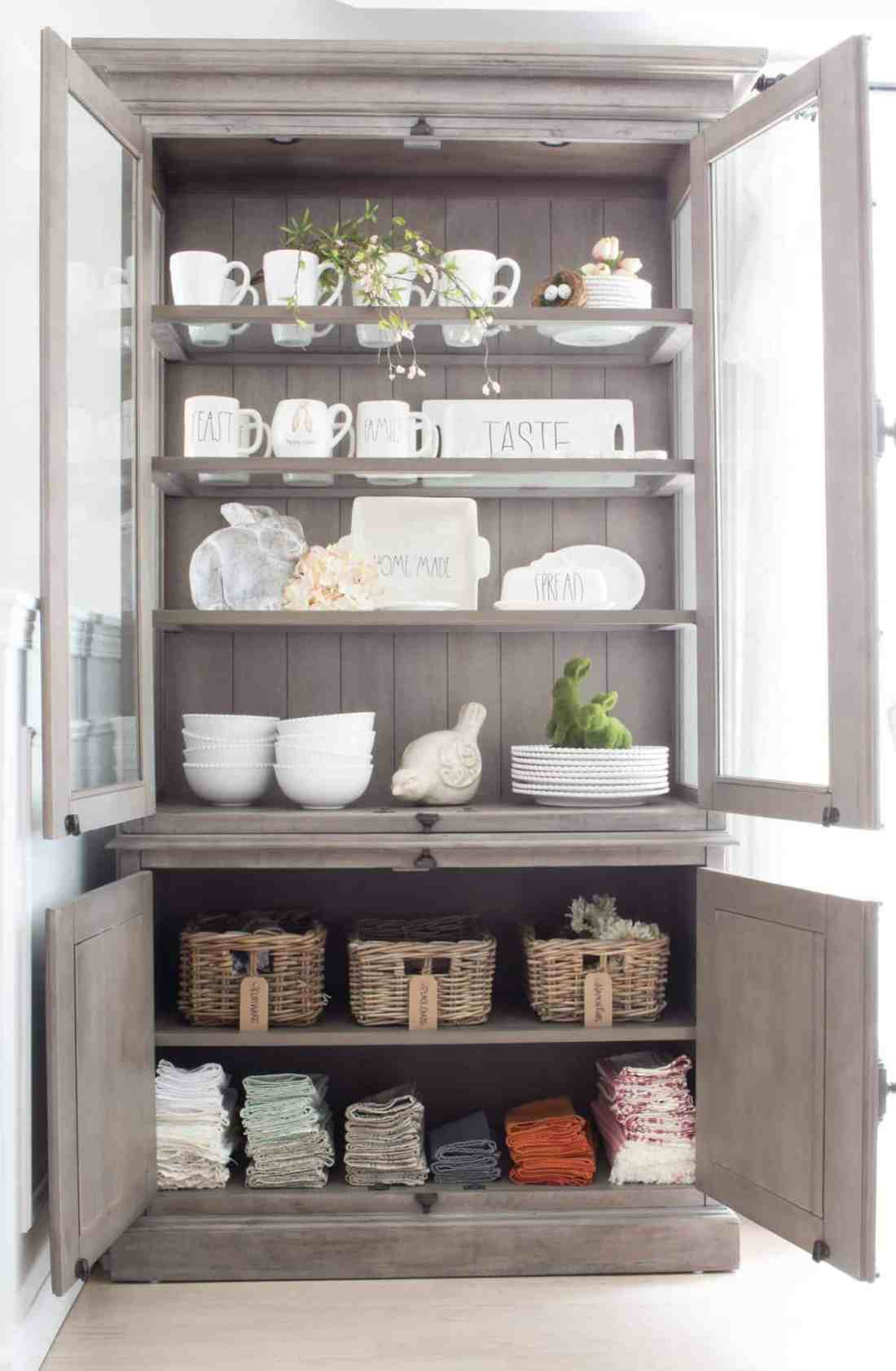 organized hutch with doors open
