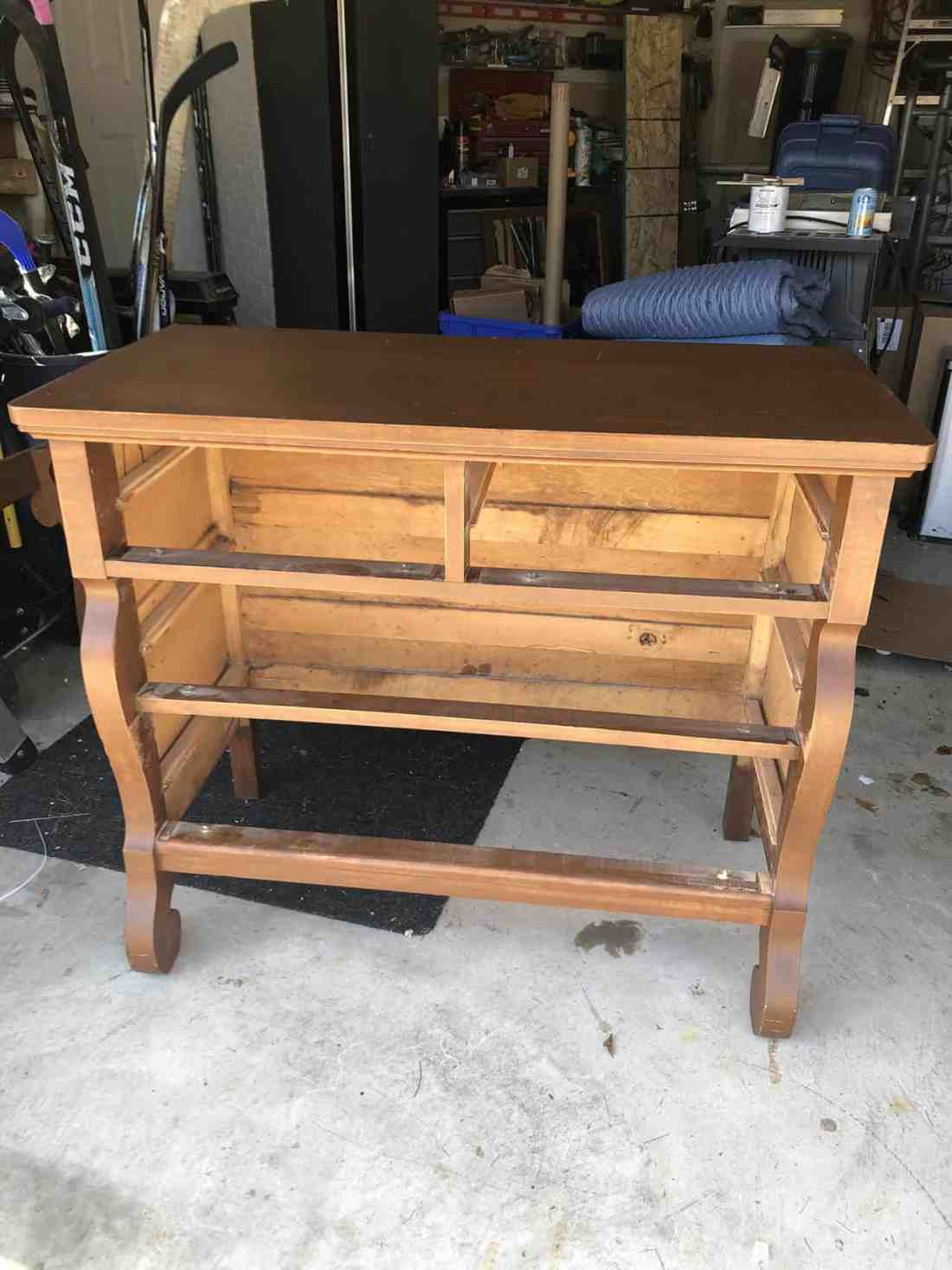 dresser ready to sand