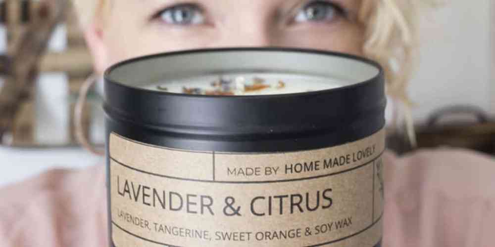 lavender and citrus candle with shannon banner
