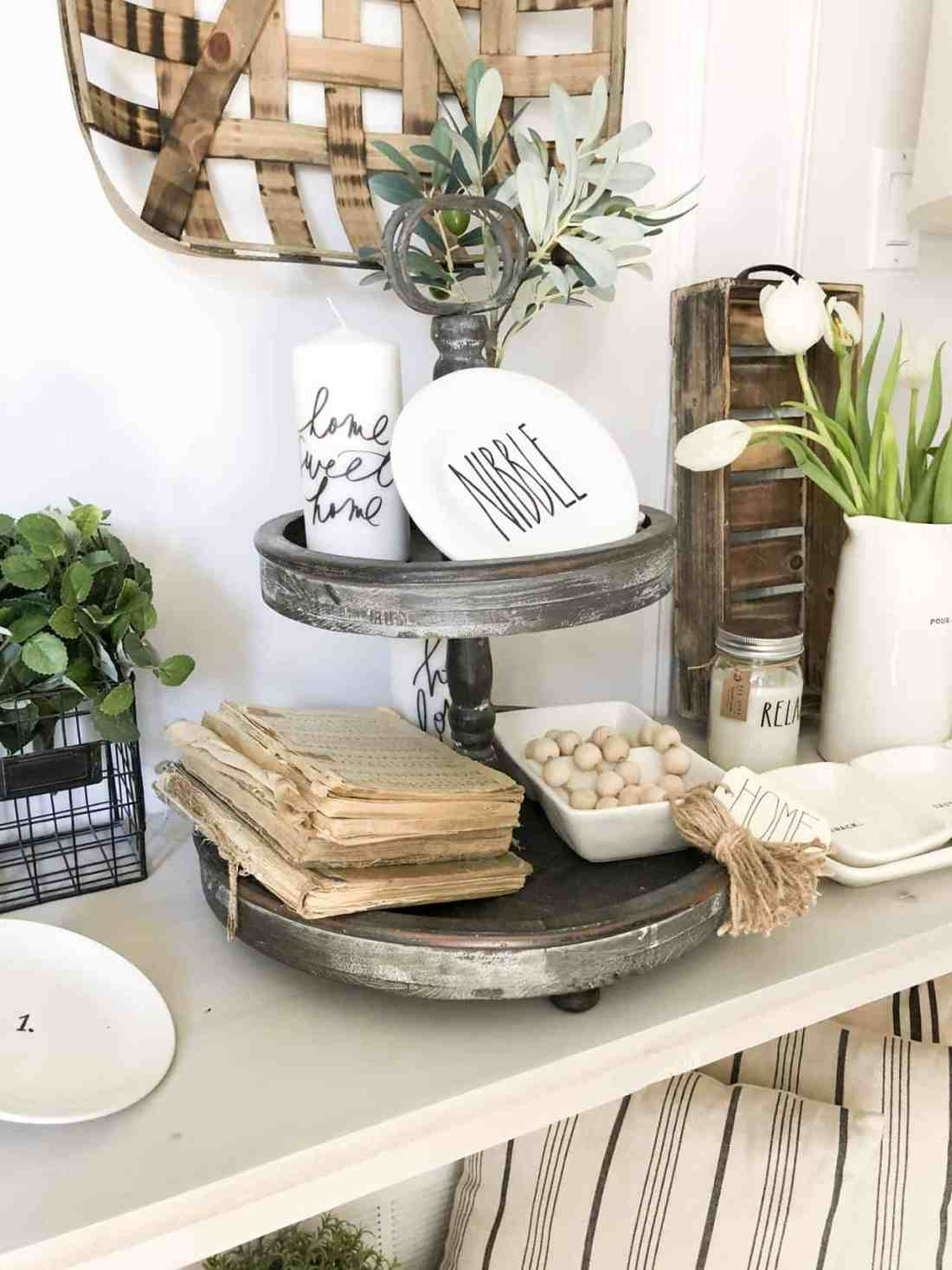 tiered tray and summer farmhouse vignettes