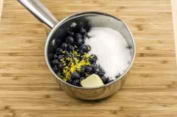 combine blueberries, etc in sauce pan
