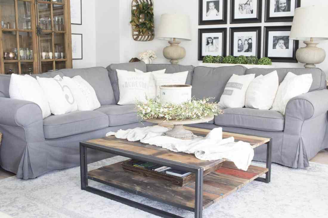 Ikea Ektorp Grey Sectional Farmhouse Living Room