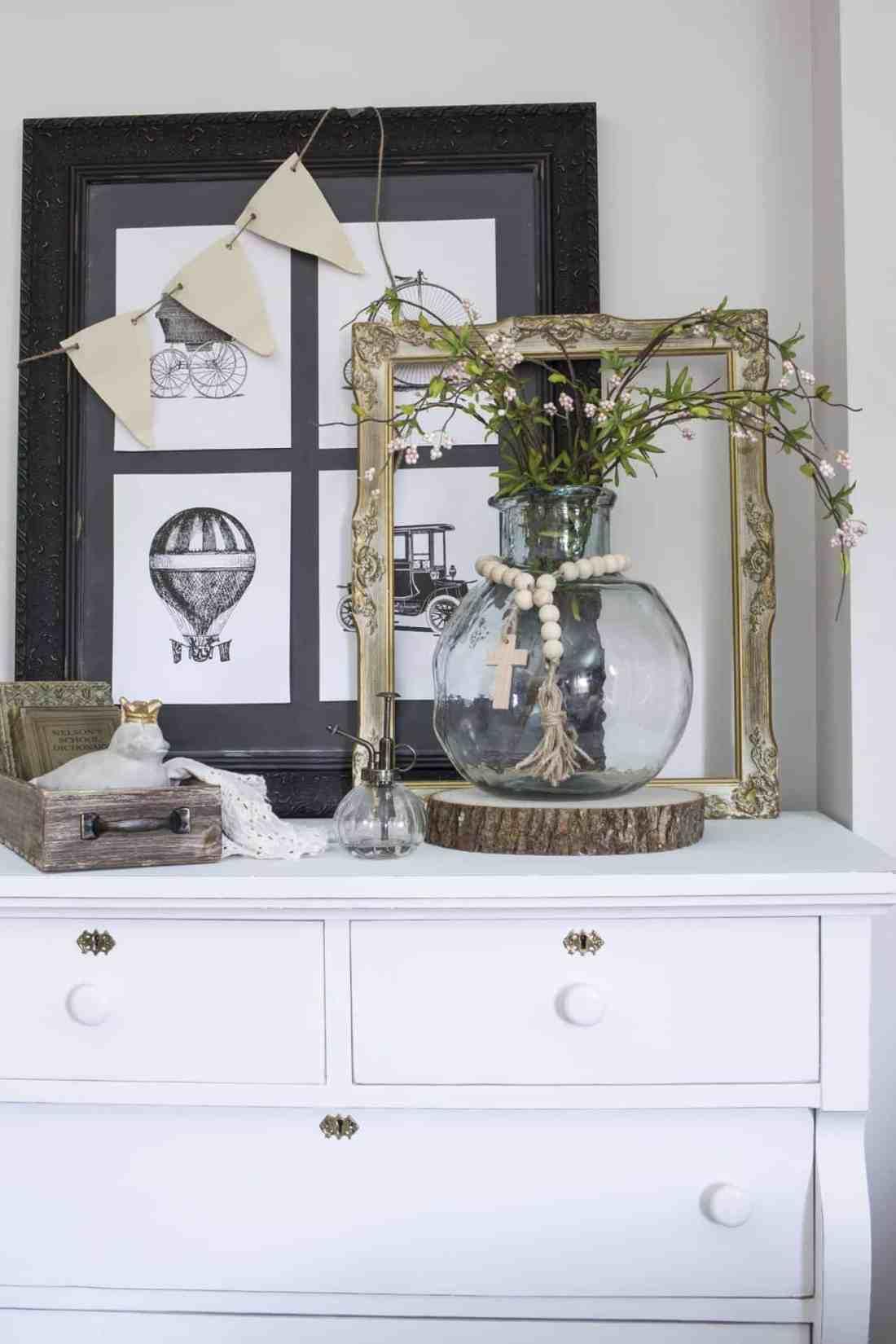 farmhouse vignette on dresser