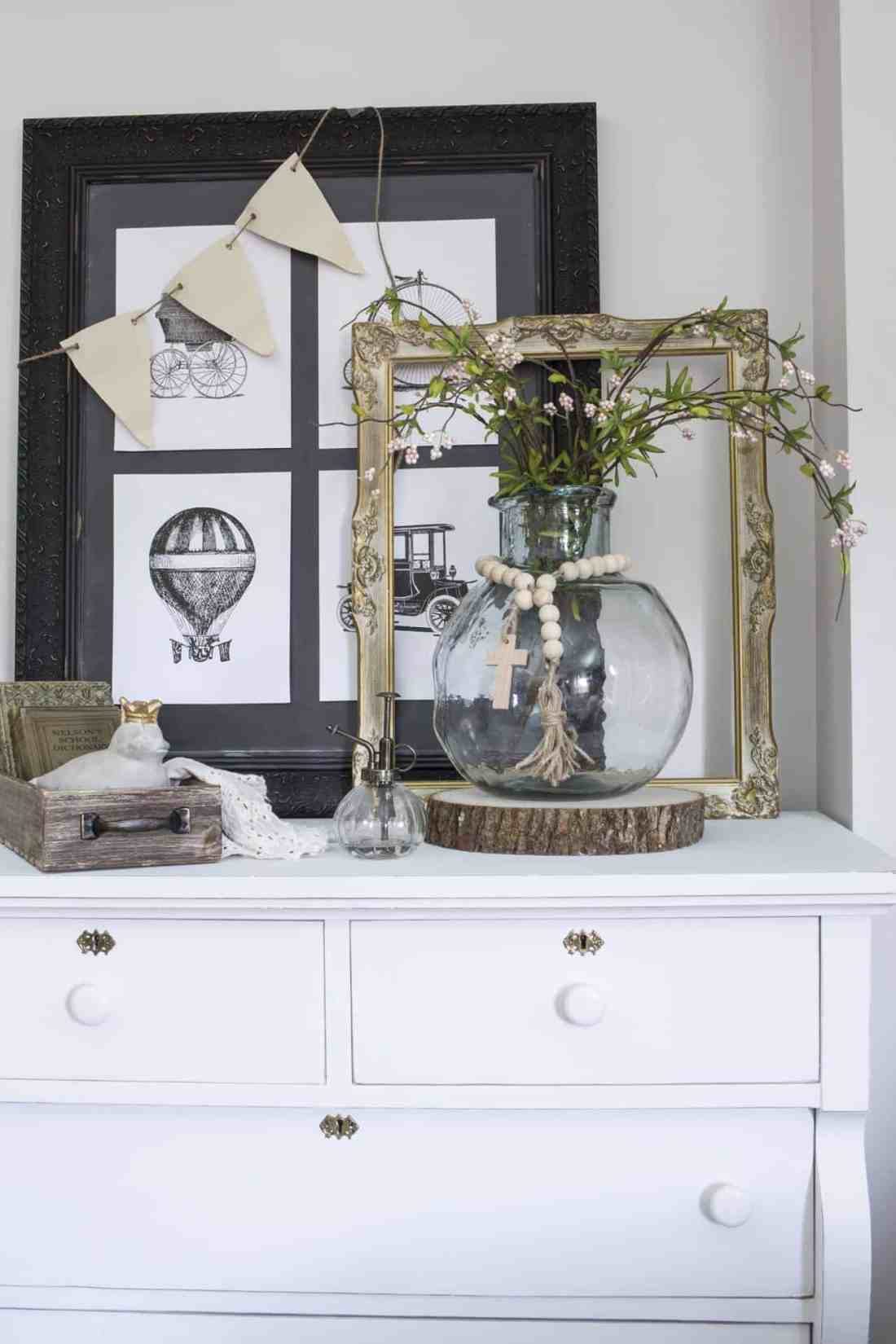 farmhouse vignette on dresser