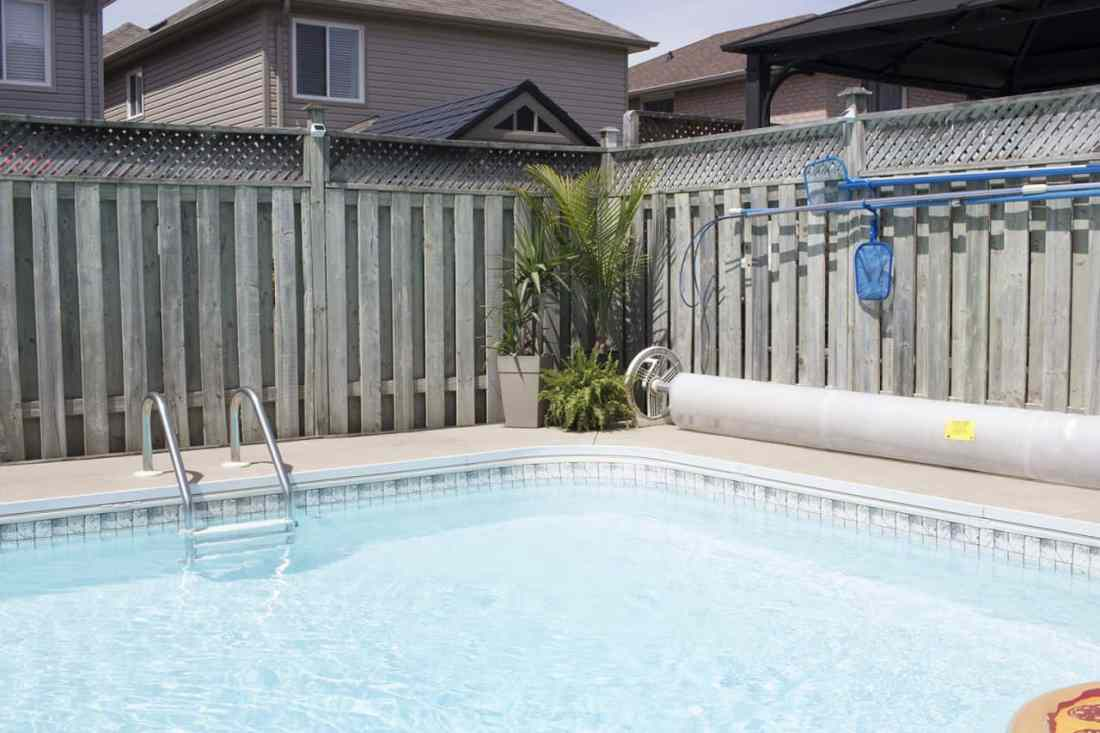 backyard pool in the suburbs