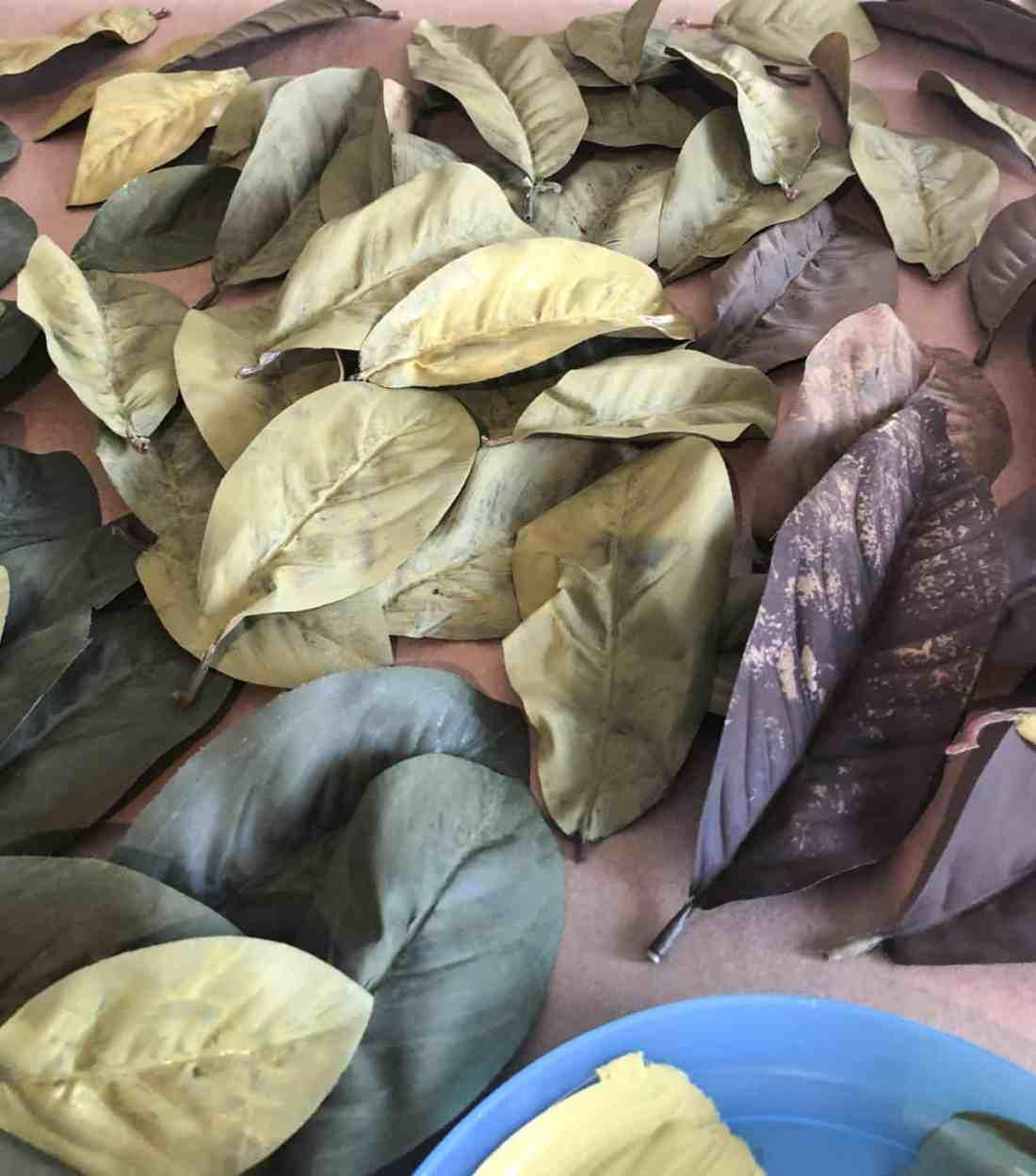 sponge painted magnolia leaves