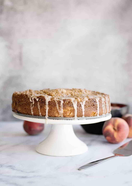 glazing peach coffee cake 2