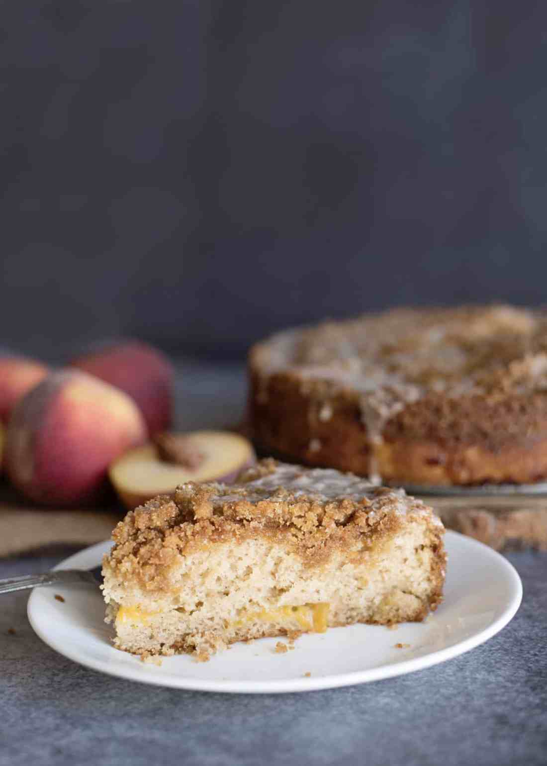 slice of peach coffee cake with cake