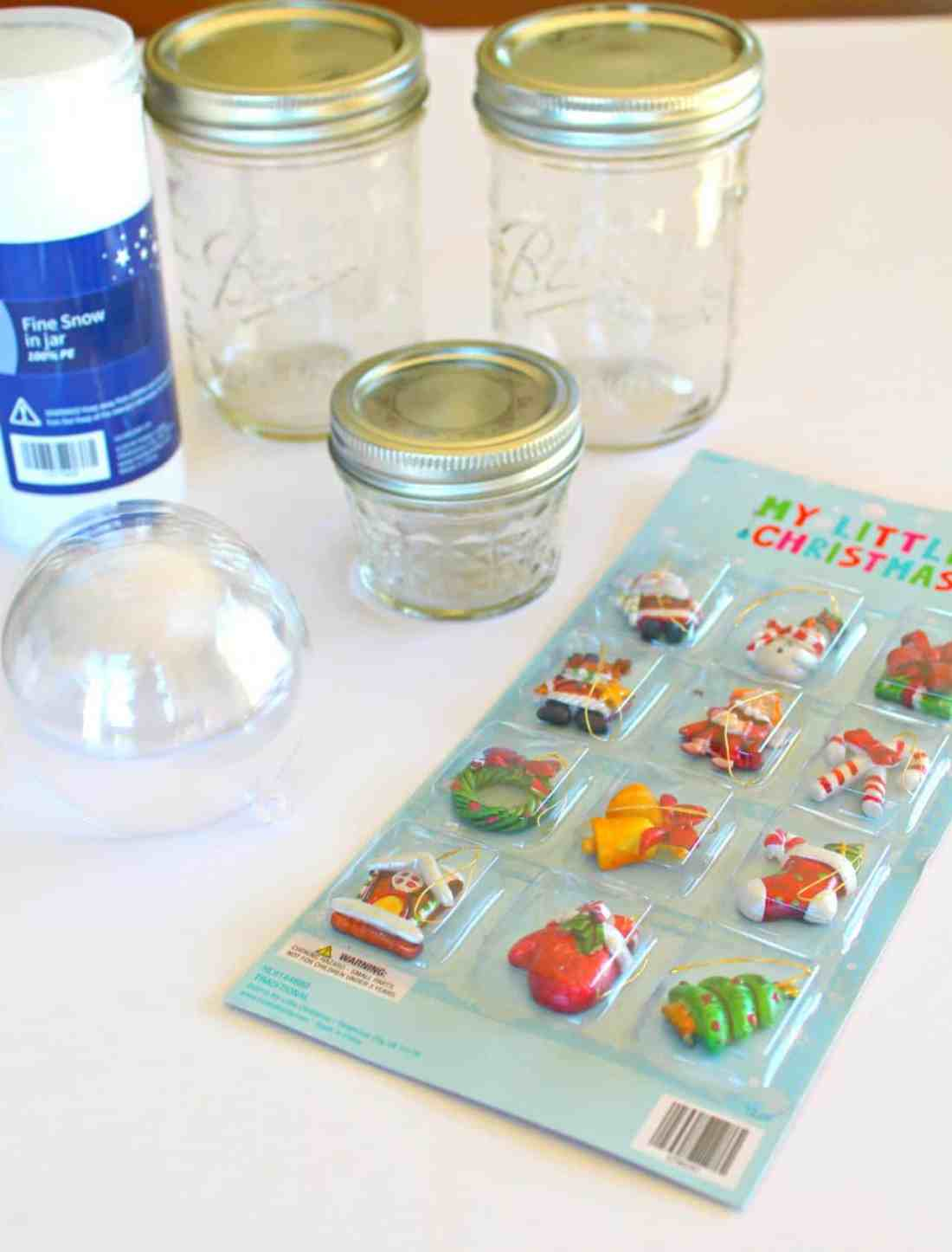 mason jar snow globe supplies