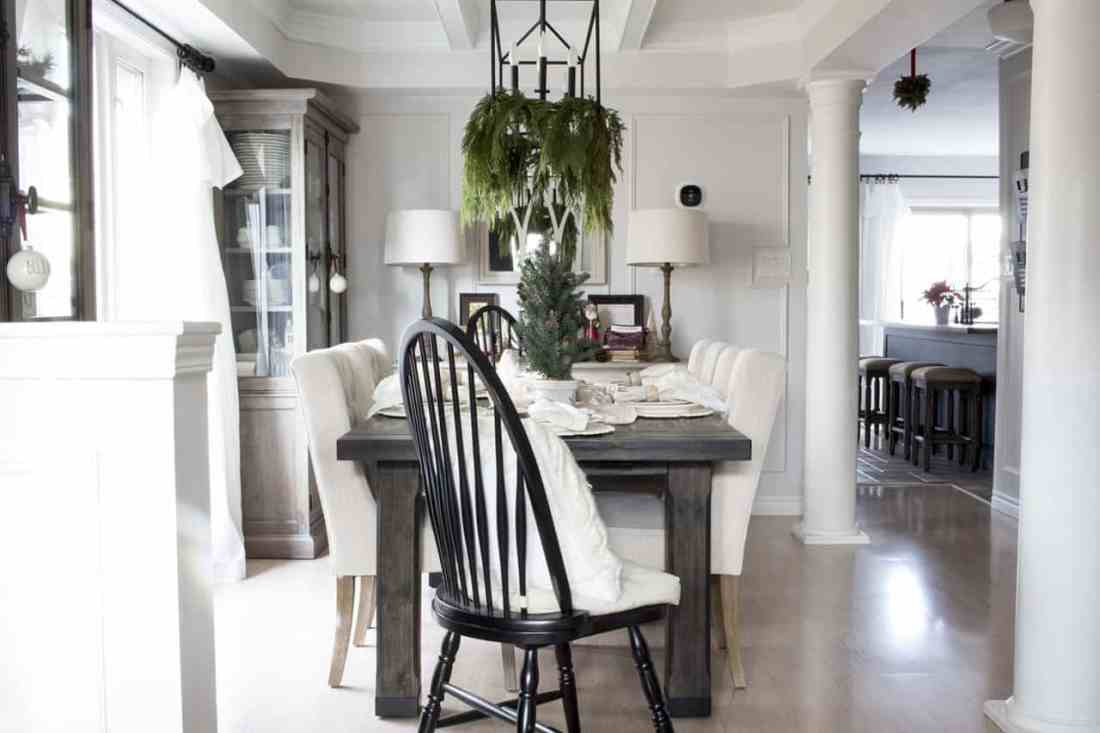 dining room from entry farmhouse Christmas
