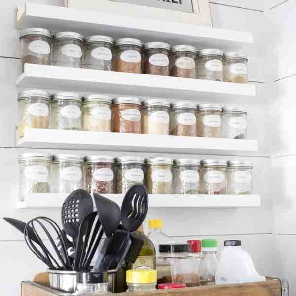 diy spice rack picture ledge canning jars