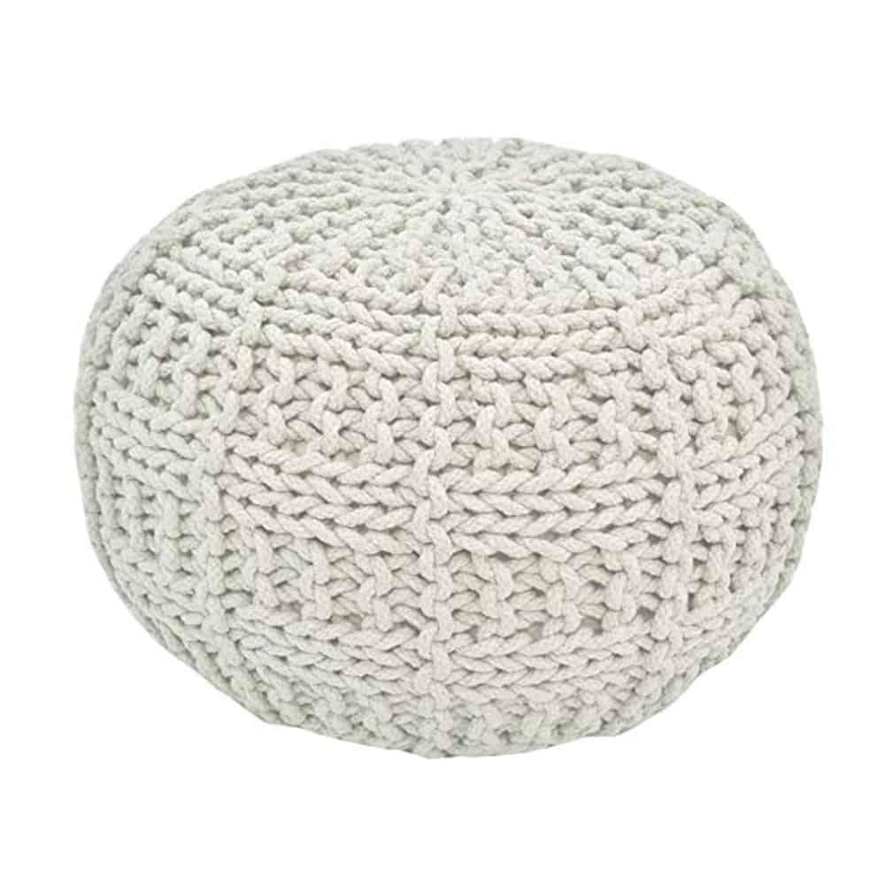 light grey basket stitch pouf ottoman