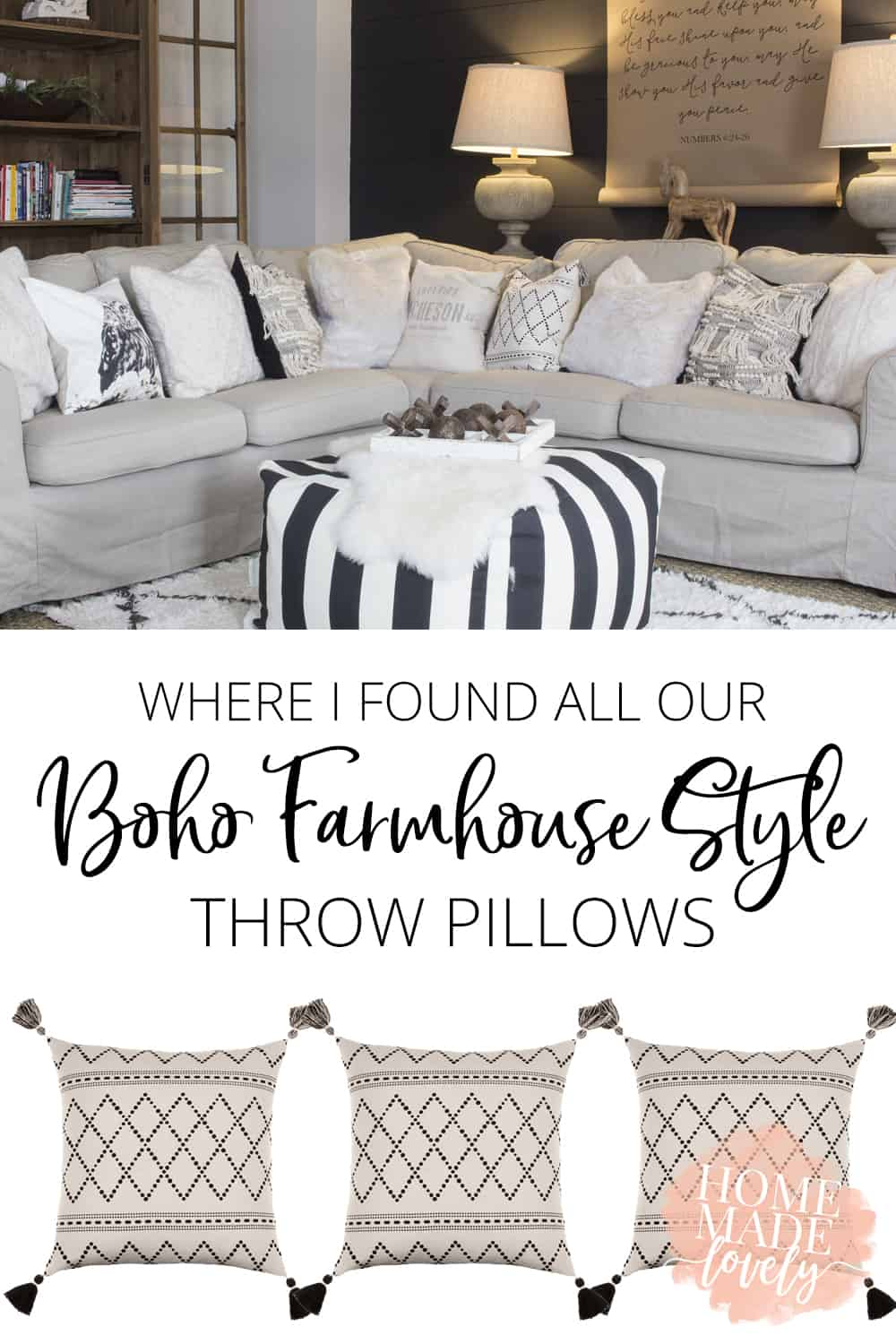 boho farmhouse style throw pillows pin