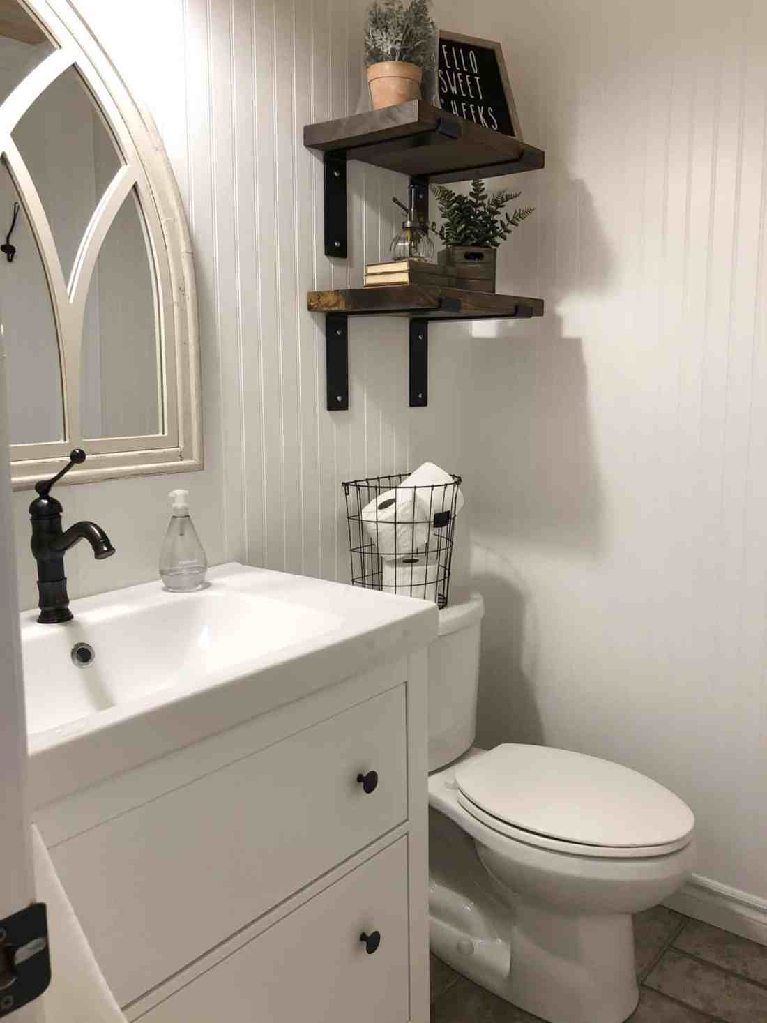 open shelving gothic mirror bathroom