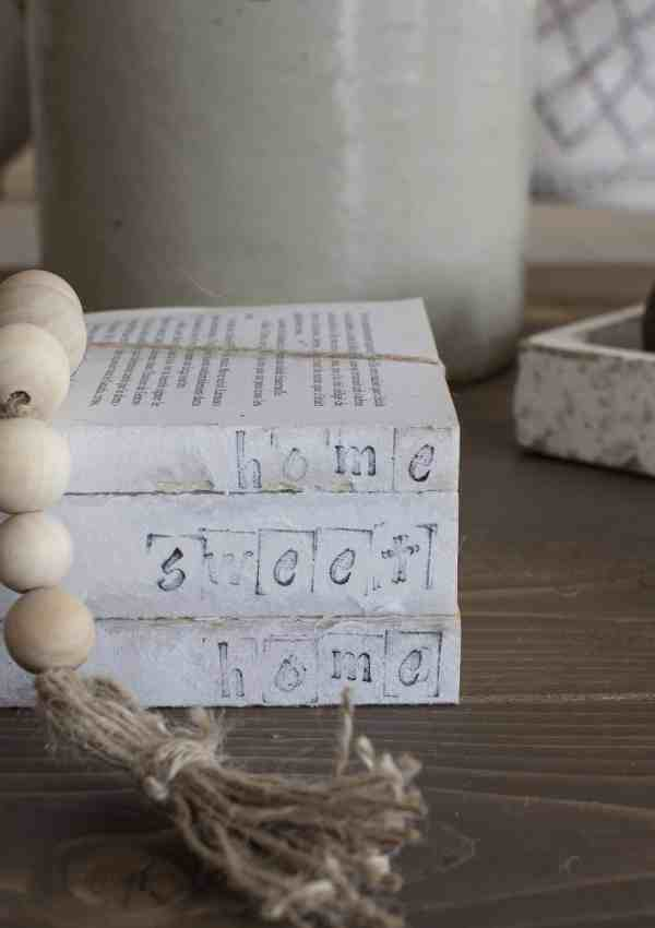 How to Make a Stamped Book Stack with Dollar Store Supplies