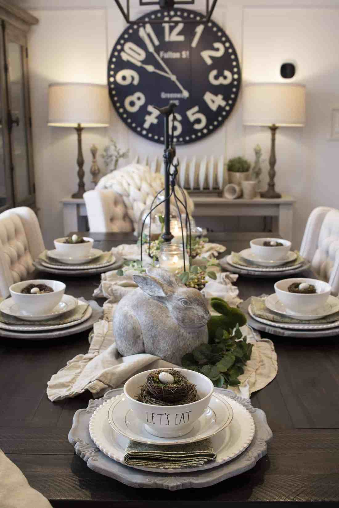 Easter table setting with concrete bunnies