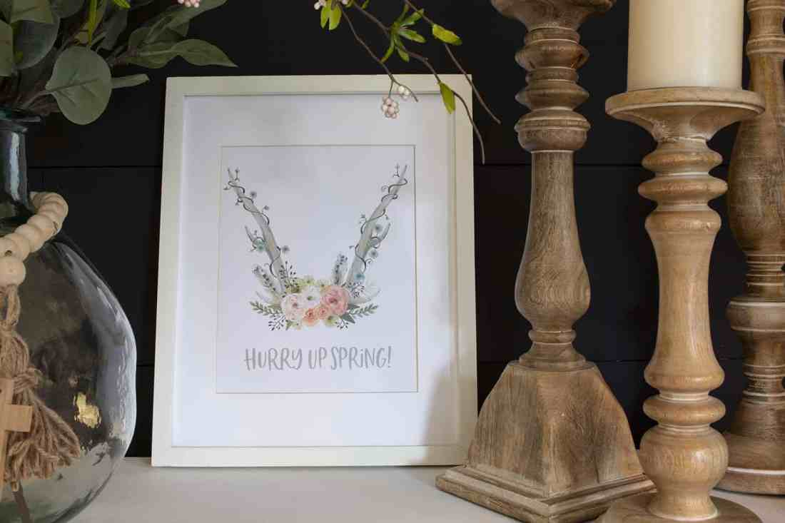 hurry up spring watercolor flowers antlers