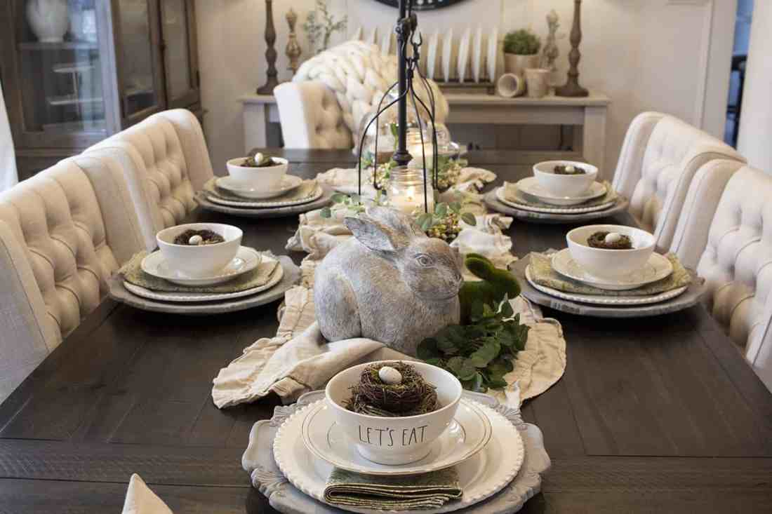 modern farmhouse neutral easter table setting