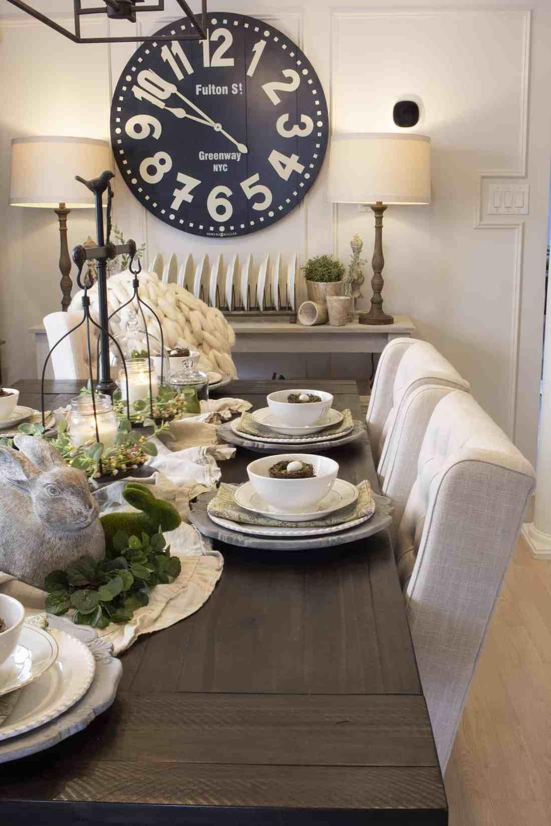 modern farmhouse spring table setting