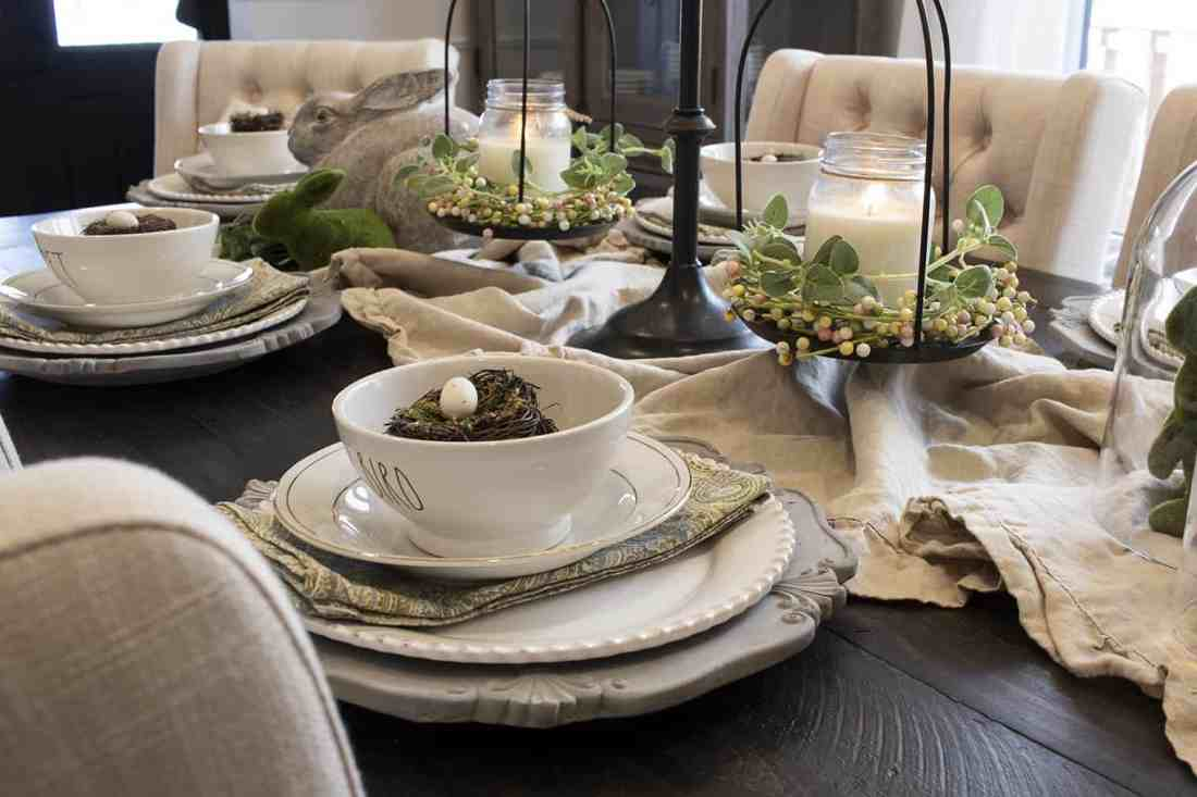 pretty spring dining room tablescape