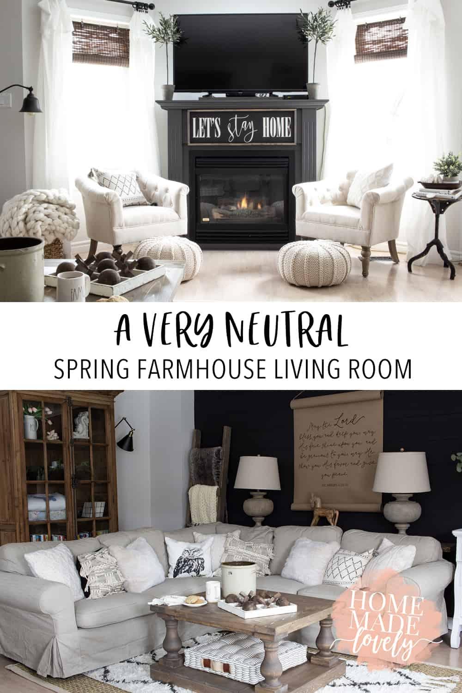 spring farmhouse living room pin