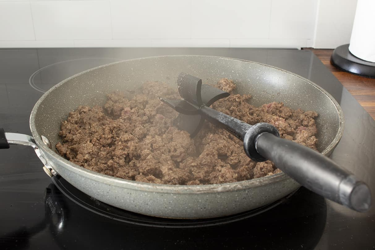 brown beef in a skillet or wok
