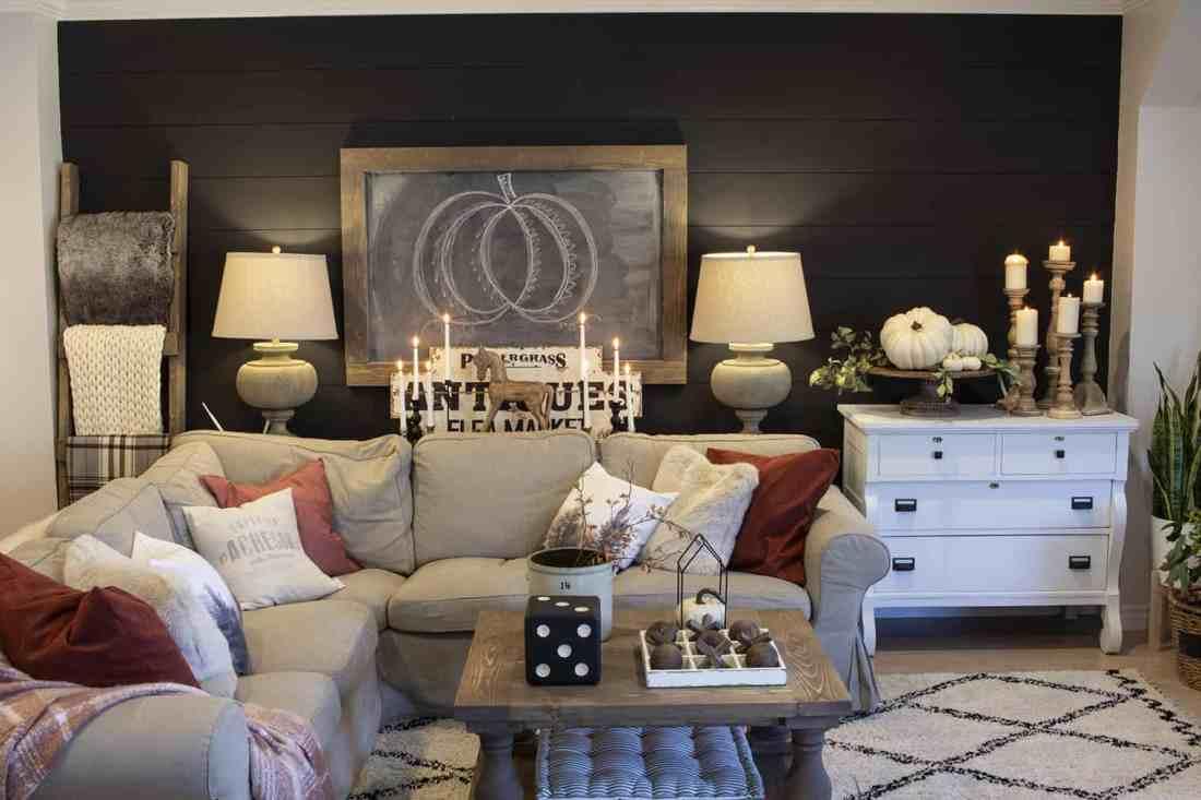 black shiplap living room wall