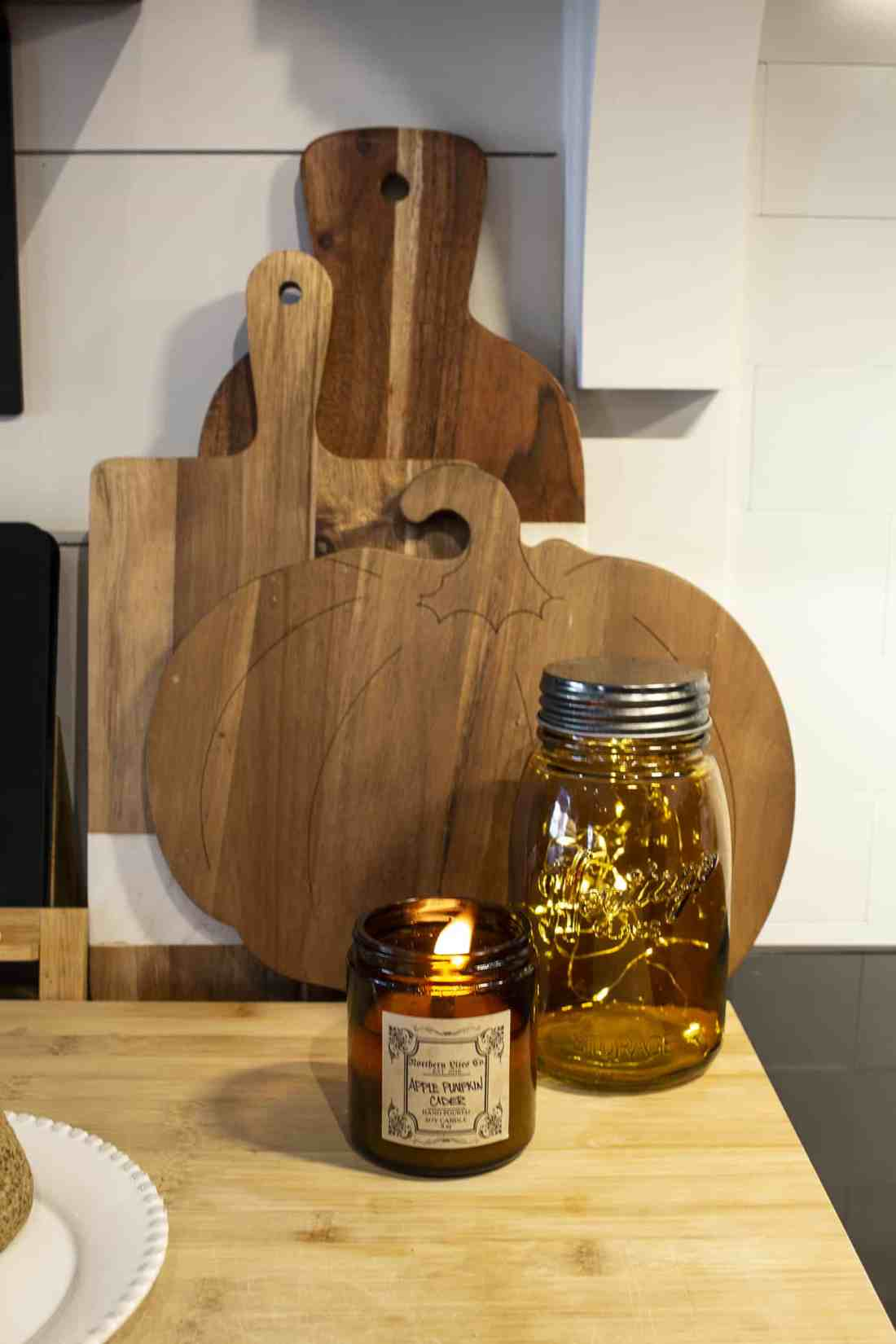 candles and cutting boards