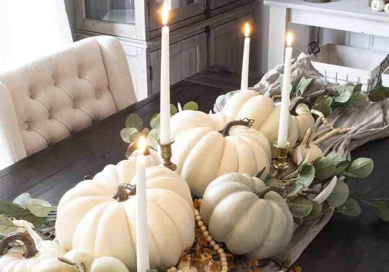 fall pumpkin centerpiece with faux