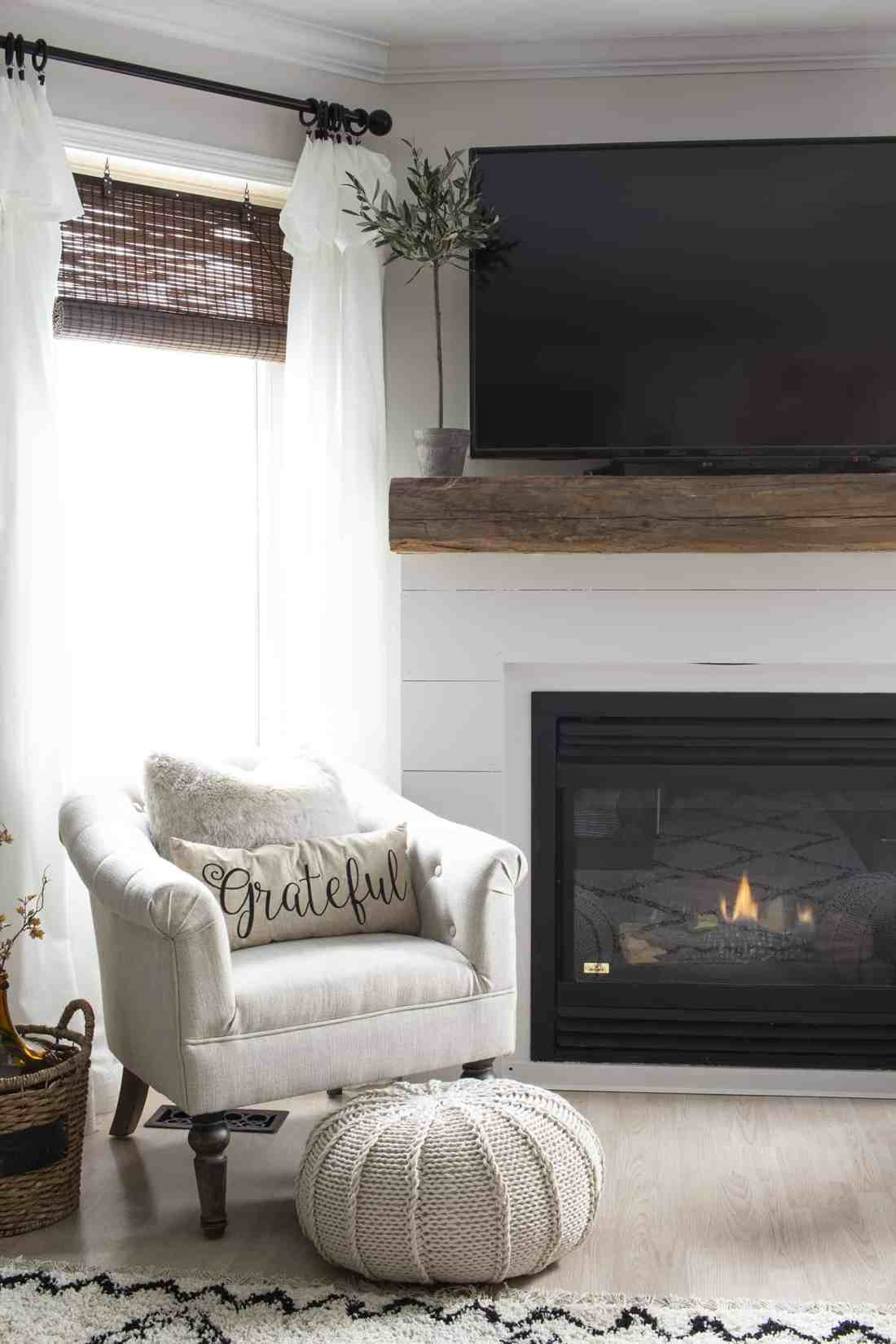 farmhouse style fireplace corner