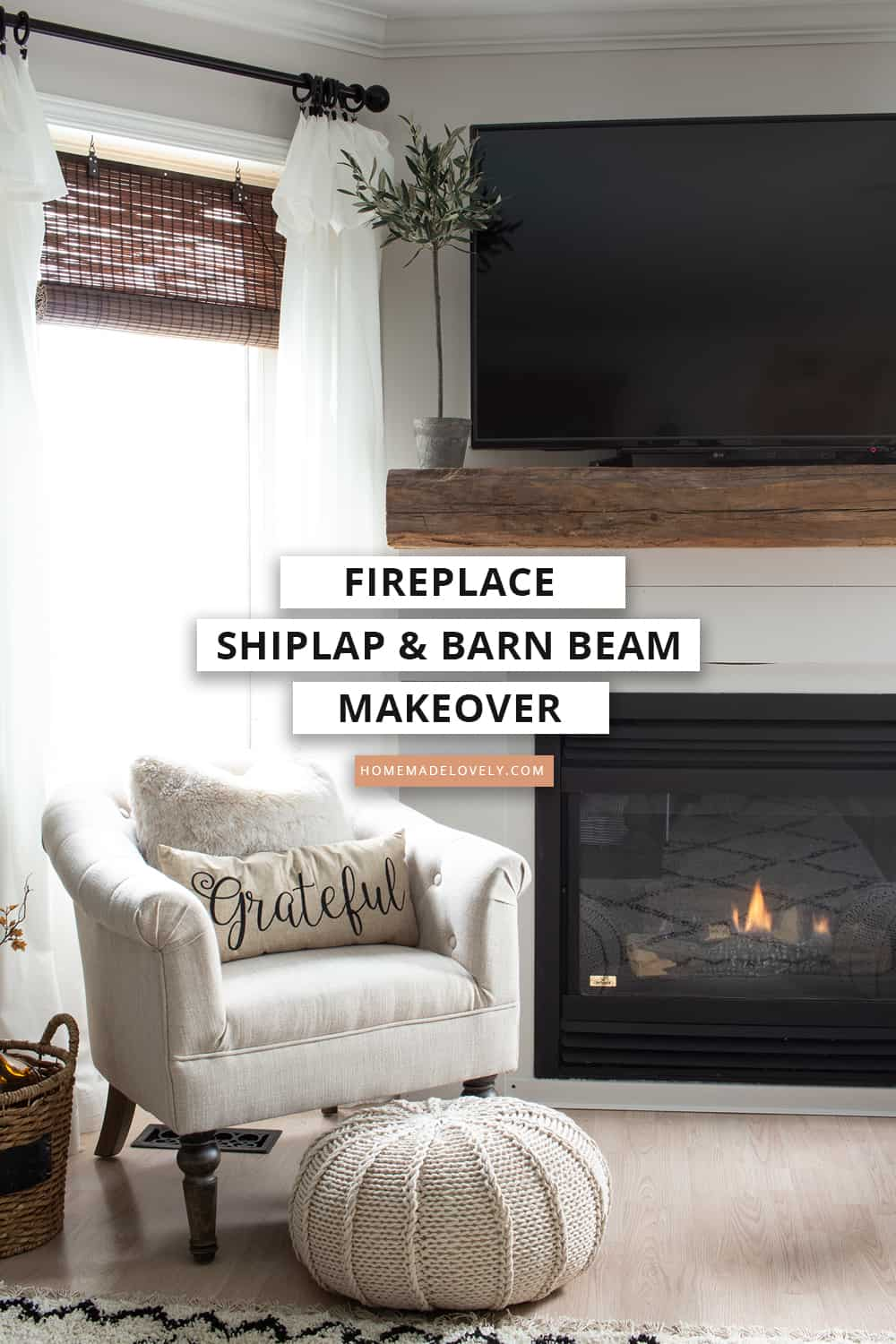 shiplap and barn beam fireplace makeover pin 1
