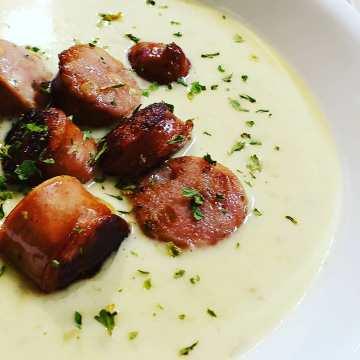Potato Leek Soup with Sausage