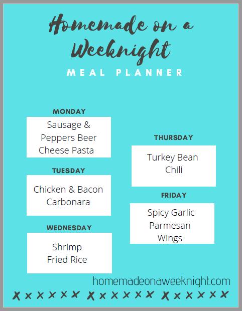 Homemade on a Weeknight Meal Planner Week 9