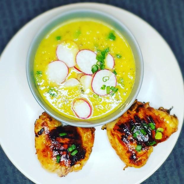 Corn Soup & Bourbon Apricot Chicken
