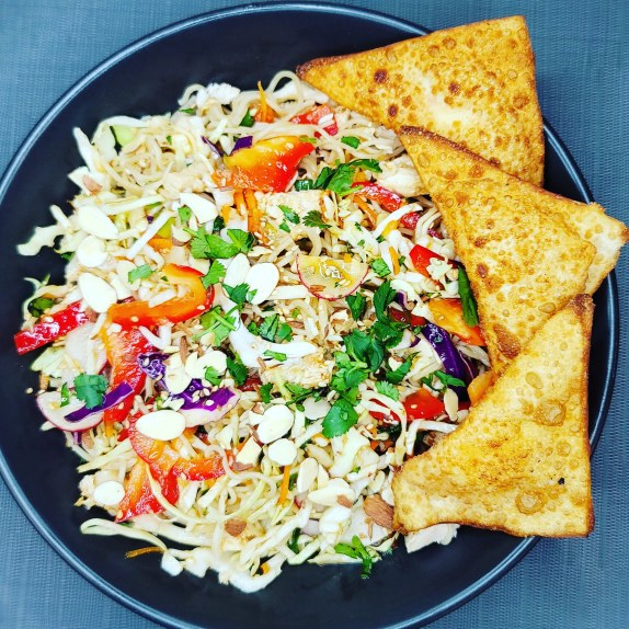Chicken Ramen Salad w/ Rangoons