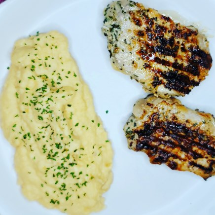 Lemon Garlic Grilled Pork Chops w/ Mashed Garlic Rutabagas