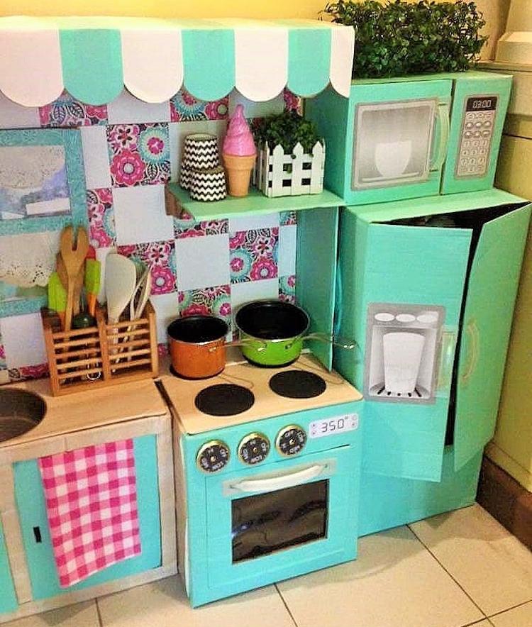 DIY Cardboard Kitchen Cafe Pantry Playset21