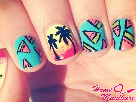 Маникюр с арбузами на ногтях фото лучших дизайнов