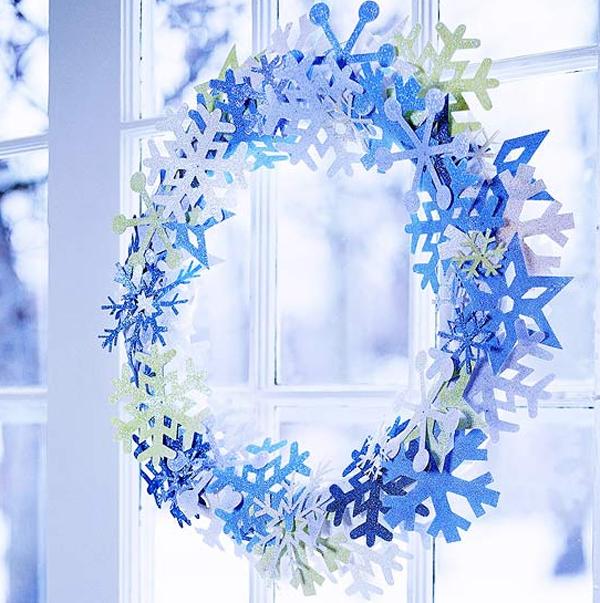 Colorful Blue Christmas Wreath For Doors Decor