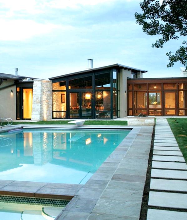 14 Comfortable And Modern Backyard Pool Ideas | HomeMydesign on Modern Backyard Ideas With Pool id=69684